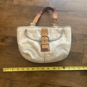 Coach - top handle in signature white canvas